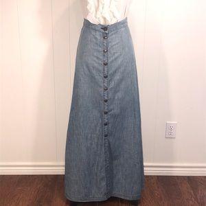 Current/Elliott Skirts - Current Elliot-Vintage Maxi Jean Skirt/Snap Front